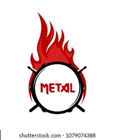 Logo for Metal music community in flat style. Drum with Sticks and cation. EPS10 Illustration.