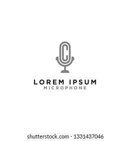 Logo and microphone, initial design letters OC.- Vector