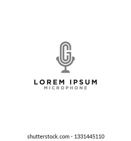 Logo and microphone, initial design letters GC.- Vector