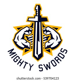 Logo mighty swords. Muscular arms, sport and fitness. Logo on the sword, war, medieval weapons. Vector illustration. Flat style