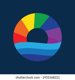 Logo Minimalis Reinbow water circle