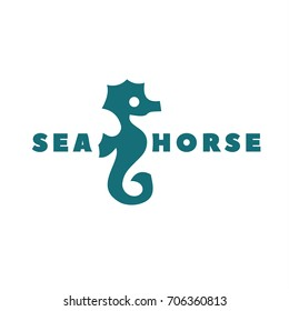 Logo in minimalism sea horse vector icon illustration of your business