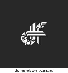Logo monogram df letters lowercase, combination linked d and f outline initials visual name fd emblem, parallel offset thin lines style.