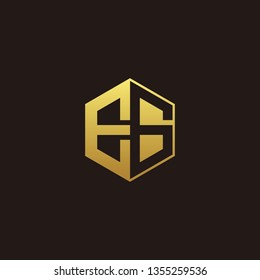 EG Logo Monogram with Negative space gold colors