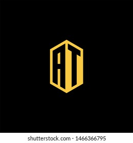 AT Logo Monogram with Negative Space with Gold colors - Modern Template EPS 10