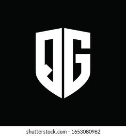 logo monogram with shield shape design template