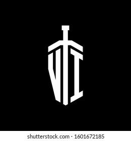 logo monogram with sword element ribbon design template