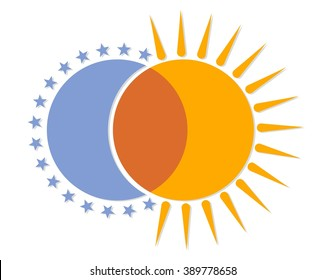 Logo with moon and sun.