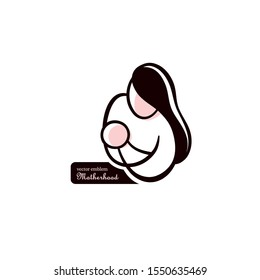 Logo of a mother and baby, mother and child, emblem, vector pregnancy clinic logo design
