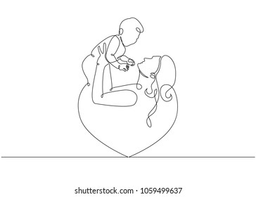 Logo with mother holding her baby with heart shape. Continuous line art vector illustration.Mothers day