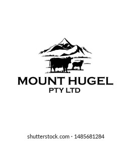 logo mount hugel garden vector