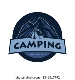 Logo for Mountain Adventure , Camping, Climbing Expedition. Vintage Vector Logo and Labels, Icon Template Design Illustration