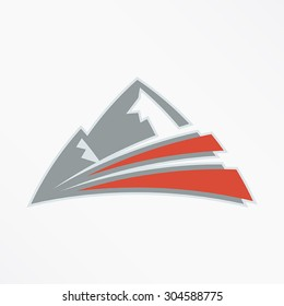 A logo of a mountain with energetic lines coming from the base. This illustration is fully editable. This is perfect for a fitness or climbing club.