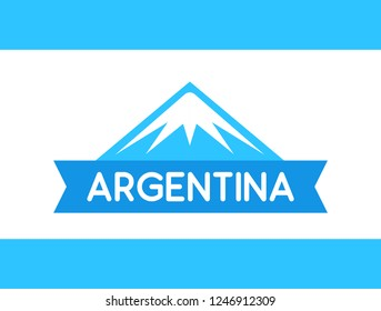 Logo of Mountain with ribbon and caption. Argentinean Andes from South America, Vector illustration on background like flag of Argentina.