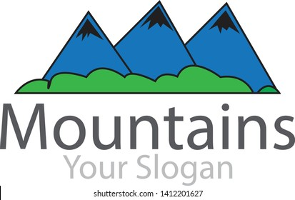 the logo of the mountain is a simple logo, consisting of three simple mountains, suitable for various needs of your company or business logo,