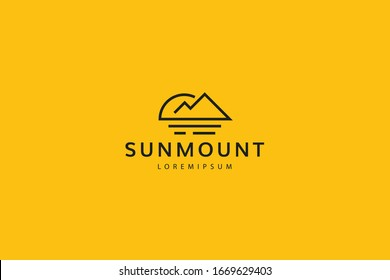 logo of mountain and sun views. Modern outline design illustration of a sun and mountain view on a lake. Vector art line icon template