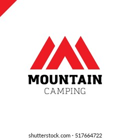 Logo of mountains in style of M or A and camping tent icon. Camp logotype red color