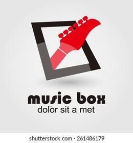 logo music box, with guitar, vector design template.