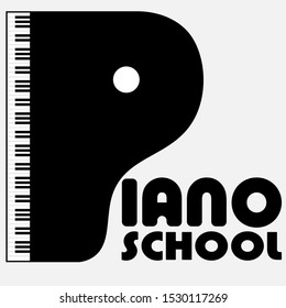 logo of a music school with a piano in the form of the letter p