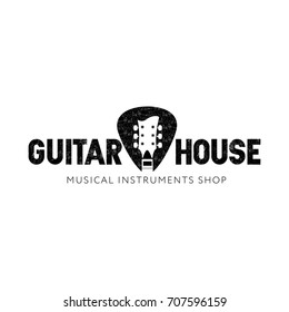 Logo for musical instruments shop, music studio, music school, store. Guitar neck isolated plectrum shape