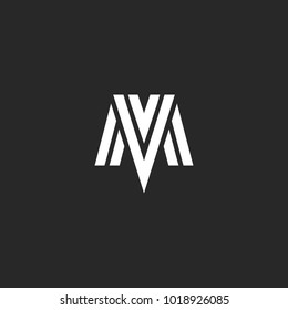 Logo MV letters elegant monogram, combination initials M and V, overlapping linear symbols VM mark construct