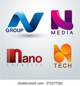 Logo N Design : Corporate Identity Logo : Vector Illustration