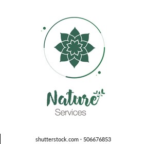 Logo nature succulent in the round green color. floral flat logo with drop