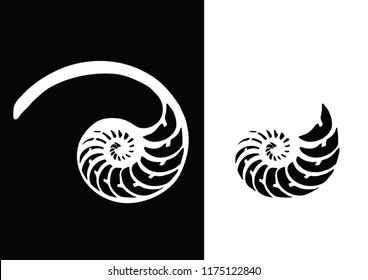 Logo Nautilus. Black and white nautilus shell striped tri cut. Vector illustration.