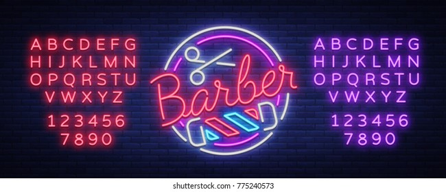 Logo, neon sign hairdresser and barbershop. Emblem, neon style label. Bright advertising billboard advertising banner, luminous banner. Vector illustration. Editing text neon sign. Neon alphabet