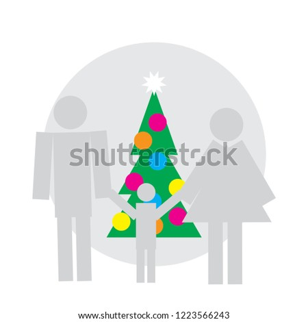 logo for new year shop advertising illustration with people silhouette mother with baby