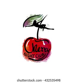 Logo for the night club, striptease bar. Image of cherries and a girl on the pylon.