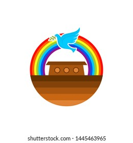 Logo of Noah's Ark. Rainbow - a symbol of the covenant. Dove with a branch of olive. Ship to rescue animals and people from the Flood. Biblical illustration.