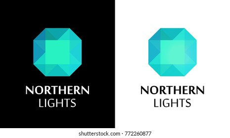 Logo with Northern Lights Shine, Vector Illustration