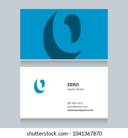 "Logo number ""0"", with business card template. Vector graphic design elements for company logo."