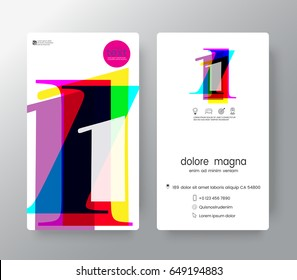 Logo number 1 Business card name templates creative design.  Vector graphic design elements for Corporate Identity.