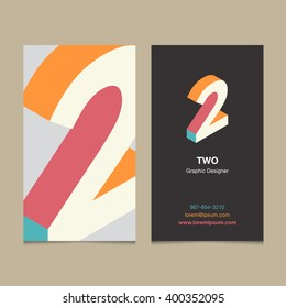 "Logo number ""2"", with business card template. Vector graphic design elements for company logo."