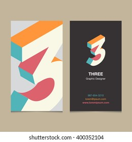 "Logo number ""3"", with business card template. Vector graphic design elements for company logo."