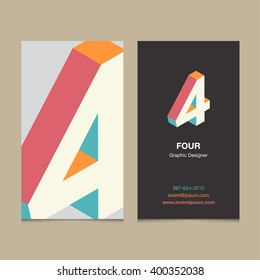 "Logo number ""4"", with business card template. Vector graphic design elements for company logo."