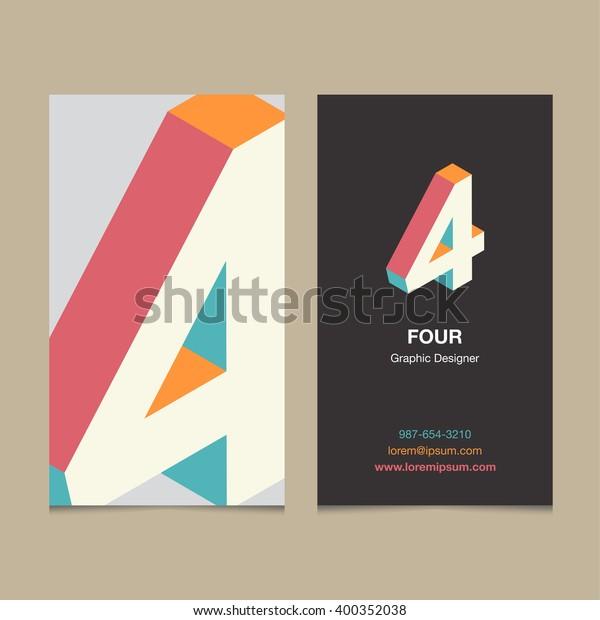 Logo Nummer 4 Mit Vorlage Für Visitenkarten Stock