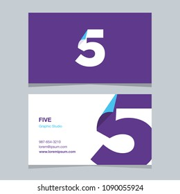 """Logo number """"5"""", with business card template. Vector graphic design elements for company logo."""