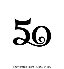 Logo number 50 aniversary with the concept of brush, tourism, and festival