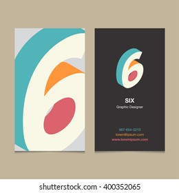 "Logo number ""6"", with business card template. Vector graphic design elements for company logo."
