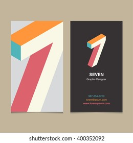 """Logo number """"7"""", with business card template. Vector graphic design elements for company logo."""