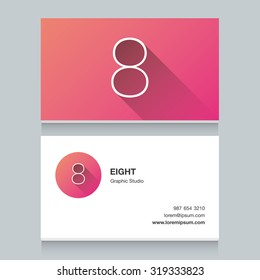"Logo number ""8"", with business card template. Vector graphic design elements for your company logo."