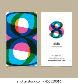 "Logo number ""8"", with business card template. Vector graphic design elements for company logo."
