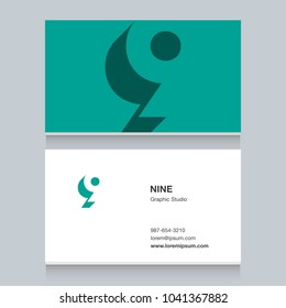 "Logo number ""9"", with business card template. Vector graphic design elements for company logo."