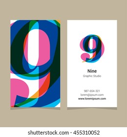 """Logo number """"9"""", with business card template. Vector graphic design elements for company logo."""