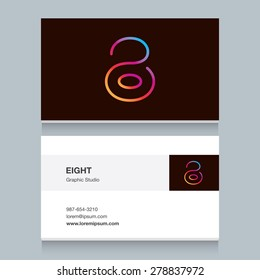 "Logo number eight ""8"", with business card template. Vector design fully editable."