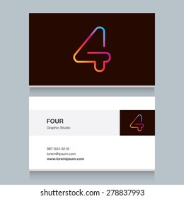 "Logo number four ""4"", with business card template. Vector design fully editable."
