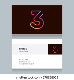 "Logo number three ""3"", with business card template. Vector design fully editable."